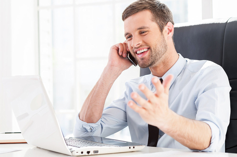 happy man on phone to virtual services